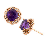 Genuine Amethyst & Lab-Created White Sapphire 14K Gold Over Silver Earrings