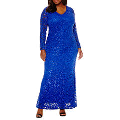 Blu Sage Long-Sleeve Lace Sequin Gown - Plus