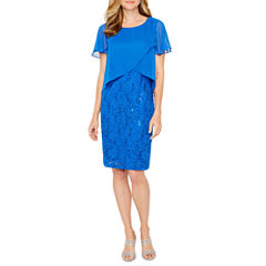 Ronni Nicole Short Sleeve Sequin Sheath Dress