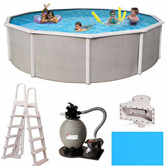 Blue Wave Barcelona Complete 18-ft Round 48-in Deep Metal Wall Pool Pkg