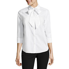 Worthington 3/4 Sleeve Button-Front Shirt