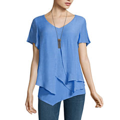 Alyx Short Sleeve Round Neck Gauze Blouse