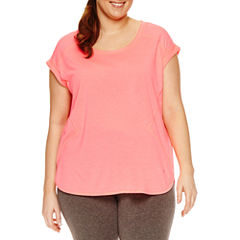Xersion Short Sleeve Scoop Neck T-Shirt-Womens Plus