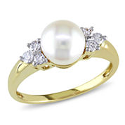 Akoya Pearl & Diamond 14K Yellow Gold Ring