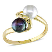 Cultured Freshwater White and Black Pearl 10K Yellow Gold Ring