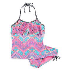 Breaking Waves Girls Tie Dye Tankini Set - Big Kid