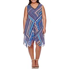 Studio 1® Sleeveless Embellished-Neck Handkerchief Dress - Plus