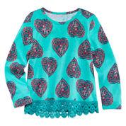 Arizona Long-Sleeve Crochet Trim Top - Toddler Girls 2t-5t