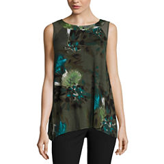 Worthington Sleeveless Scoop Neck T-Shirt-Womens