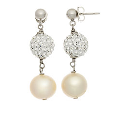 Cultured Freshwater Pearl & Crystal Sterling Silver Earrings