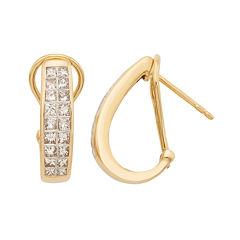 14K Yellow Gold Diamond Certified Hoop Earrings