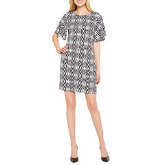 Worthington Short Sleeve Geometric Shift Dress