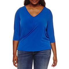 Boutique + 3/4 Sleeve V Neck Knit Blouse-Plus