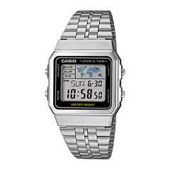 Casio® Mens Square Stainless Steel World Time Digital Watch A500WA-1CF
