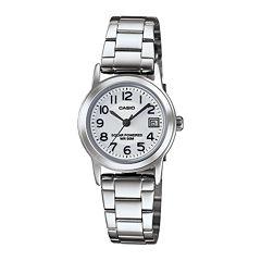 Casio® Easy Reader Womens Stainless Steel Solar Bracelet Watch LTPS100D-7BVCF