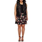 Decree® Pleather Moto Vest or Knit Skater Skirt - Plus