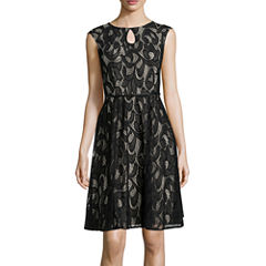 London Style Collection Cap-Sleeve Lace Keyhole Belted Fit-and-Flare Dress