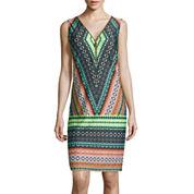 MSK Zip-Up Tribal Shift Dress
