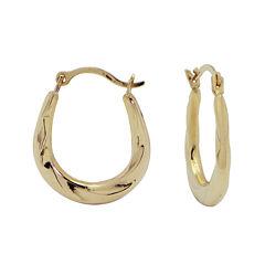 10K Gold Small Oval Twist Hoop Earrings