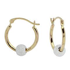 Girls 14K Gold Sparkle Bead Hoop Earrings
