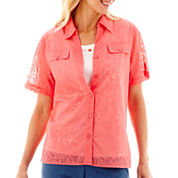 Alfred Dunner® Paradise Island Short-Sleeve Solid Burnout Layered Shirt