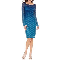 Onyx Nites Long Sleeve Sheath Dress