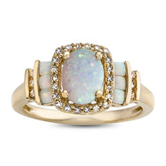Womens 1/7 CT. T.W. Multi Color Diamond 10K Gold Cocktail Ring