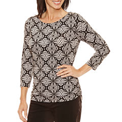 Lark Lane 3/4 Sleeve Scoop Neck T-Shirt-Womens