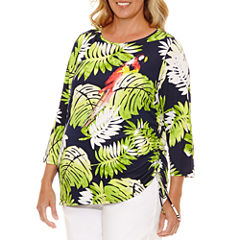 Lark Lane Braziliant 3/4 Sleeve Boat Neck T-Shirt-Womens Plus