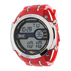 Everlast® Mens Red Silicone Strap Watch