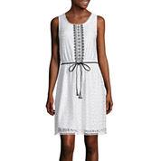 Trixxi® Sleeveless Belted Lace Blouson Dress
