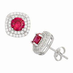 Simulated Ruby Sterling Silver Earrings