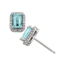 Simulated Aquamarine Sterling Silver Earrings
