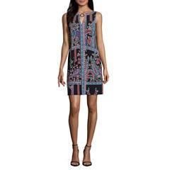 Nicole By Nicole Miller Sleeveless Geometric Sheath Dress