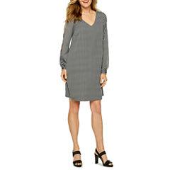 Worthington Long Sleeve Stripe Shift Dress