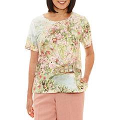 Alfred Dunner Botanical Garden Short Sleeve V Neck T-Shirt