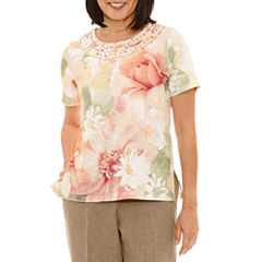 Alfred Dunner Botanical Garden Short Sleeve Crew Neck T-Shirt