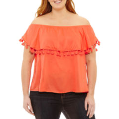 a.n.a Short Sleeve Off the Shoulder Woven Blouse-Plus