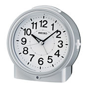 Seiko® Bedside With Dial Light And Beep Alarm With Snooze Silver Tone Clock Qhe117slh