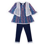 Little Lass® 3-pc. Boho Vest, Top and Leggings Set - Baby Girls 3m-24m
