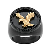 Mens Crystal Stainless Steel & Black IP Eagle Ring