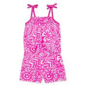 Okie Dokie® Sleeveless Smocked Romper - Toddler Girls 2t-5t