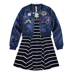 Knit Works Skater Dress with Bomber Jacket and Necklace - Girls' 7-16