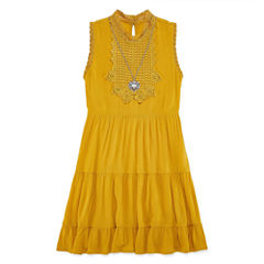 Knit Works Woven Tier High Neck Dress - Girl's 7-16