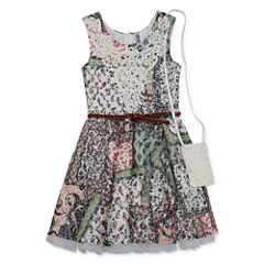 Knit Works Printed Lace Dress with Belt and Purse - Girls' 7-16