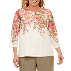 Alfred Dunner Botanical Garden 3/4 Sleeve Crew Neck T-Shirt-Womens Plus