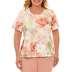 Alfred Dunner Botanical Garden Short Sleeve Crew Neck T-Shirt-Womens Plus