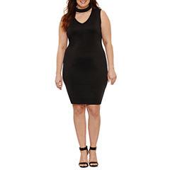 Boutique + Sleeveless Choker Neck Bodycon Dress-Plus