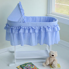 Lamont Home Good Night Baby Bassinet - Blue Gingham Half Skirt