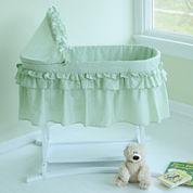 Lamont Home Good Night Baby Bassinet - Sage Gingham Half Skirt